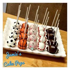 Sports Theme Baby Shower Cake Pops by JamiesCakePops on Etsy
