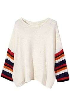 """Color Block Batwing Sleeves Winter White Sweater. Great way to add a """"pop"""" of color to your outfit."""