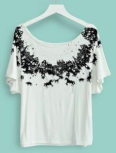 #SheInside White Boat Neck Short Sleeve Cartoon Print Loose T-Shirt