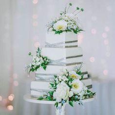 Modern Square/ Silver Sugar Flower Wedding Cake