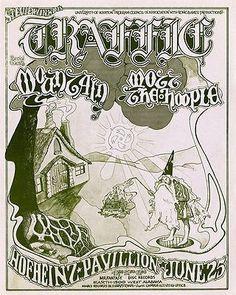 Traffic  - Mountain - Mott the Hoople 1971 -  Hofheinz Pavillion Concert Poster