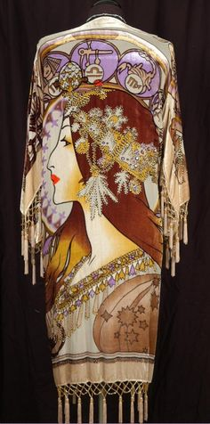 Alphonse Mucha reproduction silk duster jacket with Mucha's zodiac. In love.