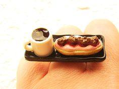 Kawaii Food Ring  Coffee Cream Puff  Miniature by SouZouCreations, $12.00