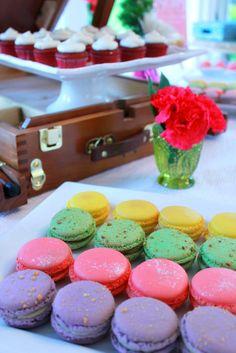 Rainbow Macarons at an Artist Bridal Shower #bridalshower #artparty
