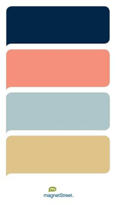 Navy, Coral, Custom Green, and Gold Wedding Color Palette - custom color palette created at MagnetStreet.com