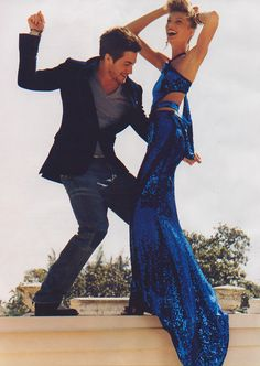 Jake Gyllenhaal & Daria Werbowy by Mario Testino for Vogue US (July 2004)    Editorial: It Happend One Night    Dress: Gucci
