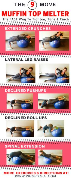 This stability ball ab workout is perfect for beginners for abs. Banish muffin tops and mummy tummy and get a flat belly after pregnancy at home or in gym. This exercise ball workout is your plan for losing weight with ab exercises as a postpartum workout https://www.musclesaurus.com/flat-stomach-exercises/ #Exercise&HealthyWeight