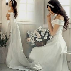 White Off the Shoulder Princess Summer Spring Wedding Dress Gown Sale SKU-118170
