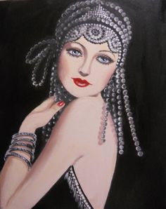 a roaring 20's fantasy lady. Original acrylic fantasy lady portrait on canvas, 11'x4'.....The fashion styles for women in this short lived period were ultra feminine and so free. I can never get enough of recreating ladies and fashion styles of this ...