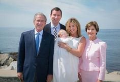 President George W. and Laura Bush with Jenna Bush Hager & family