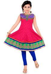 Red Cotton Readymade Churidar Kameez