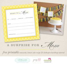 "Free printable ""memo to Mom"" - for Mother's Day! (backdrop by @Pure Joy Events, cake by 6 Bittersweets)"