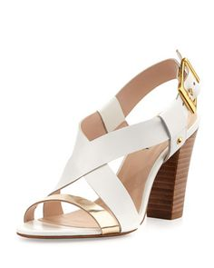 Victoria Two-Tone Cross-Front Chunky Sandal, White/Gold by Neiman Marcus at Neiman Marcus Last Call.