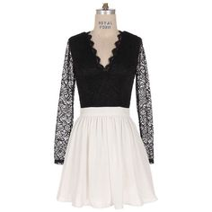 Pre-owned Candlelight Lace Dress ($113) ❤ liked on Polyvore featuring dresses, black, skater dress, long sleeve skater dress, long sleeve dresses, black dress and long sleeve cocktail dresses