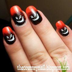 Spooky Halloween Jackolantern Faces #black #orange #nailart - bellashoot.com