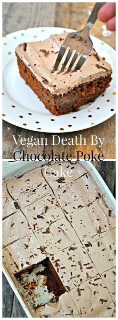 Vegan death by chocolate poke cake is the ultimate indulgence that just so happens to be vegan. Fluffy cake, sweetened condensed milk, whipped topping!