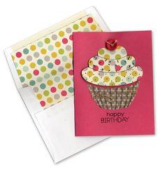 Die Cut Stamped Cupcake Birthday Card