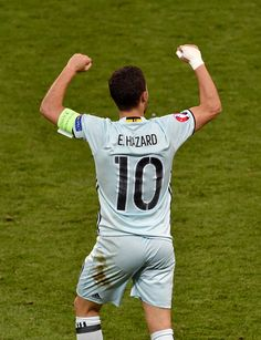Belgium's forward Eden Hazard celebrates his goal during the Euro 2016 round of 16 football match between Hungary and Belgium at the Stadium. Eden Hazard, Soccer Guys, Play Soccer, Soccer Players, Antoine Griezmann, Real Madrid, Men In Tight Pants, Soccer Skills, Football Pictures