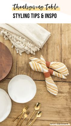 THANKSGIVING TABLE IDEAS — Styling Tips + Inspo Check out this GORGEOUS Thanksgiving Table Idea — it uses fresh pumpkins + greenery, white plates, yellow striped napkins, gold flatware, and diy polymer clay napkin rings Thanksgiving Table Settings, Diy Thanksgiving, Thanksgiving Decorations, Fall Home Decor, Clay Tutorials, A Table, Dinner Table, Napkin Rings, Polymer Clay