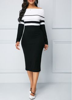 fb6961c356e Black Dresses Back Slit Boat Neck Long Sleeve Sheath Dress