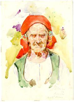 E 12504 František Hlavica, Stoletá stařena z Ludkovic, akvarel; 1924 - Sbírka Muzea jihovýchodní Moravy ve Zlíně