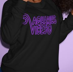 AQUARIUS VIBES - BLACK/PURPLE SWEATSHIRT - XL