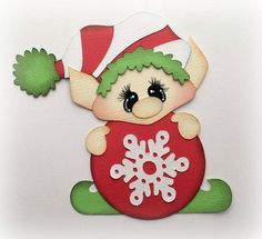 CHRISTMAS SANTA'S ELF WITH ORNAMENT PREMADE PAPER PIECING  3D DIE CUT MYTB KIRA  #Handmade