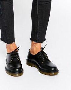 Dr Martens | Dr Martens 1461 Classic Black Patent Flat Shoes at ASOS #docmartensoutfits