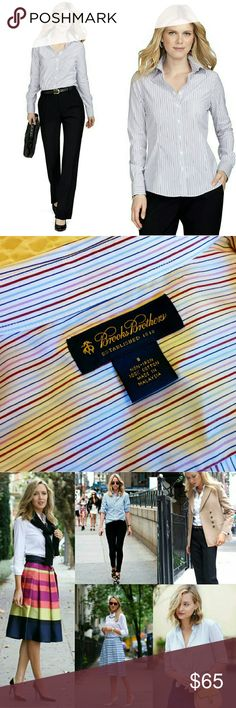 39✂Striped Non-Iron Dress Shirt ✨NWT, but not attached Got torn off when I was taking picture   ⏩This non-iron dress shirt is crafted from Supima high-grade cotton & specially treated to remain virtually wrinkle-free ⏩Fitted silhouette, vertical stripes for a slimmer appearance ⏩Forward point collar, mitered cuffs ⏩It's hard to find quality oxford made with Supima cotton, so this one is an ultimate must-have! It feels so great on & the fit is slimming. I snatched every colors available…