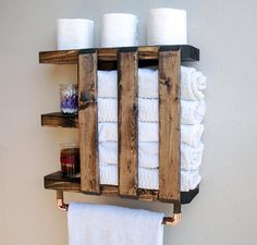 ♥ Each Shelf is HANDMADE IN PENNSYLVANIA, USA Hang your towels in style with this eye-catching towel holder. This beautifully handcrafted shelf and towel rack will add character to any bathroom. Its is perfect for smaller bathrooms that often don't have enough space to store all those bathroom must-haves, especially the towels that can take most of the available space in the cabinets. It is the PERFECT companion to our matching toilet paper holder https://www.etsy.com/listing&...