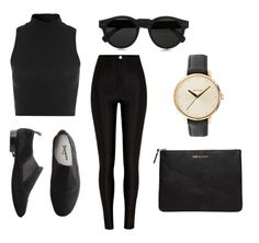Black outfit. tight. high waisted. jeans. crop top. shoes. sun glasses. clutch. watch.