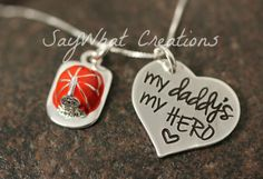 My daddy's my HERO Firefighter's Daughter Necklace Sterling Silver Hand Stamped.....I want one for kinsey grace.