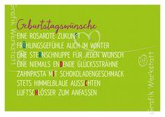 Artikel - Grafik Werkstatt Bielefeld Birthday Wishes, Birthday Cards, Happy Birthday, Something To Remember, Life Words, Happy B Day, E Cards, Congratulations, Poems