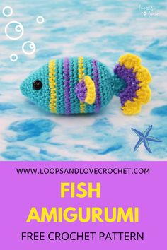 Easy Crochet Animals, Crochet Cat Toys, Crochet Birds, Crocheted Flowers, Knitted Dolls, Crochet Fish Patterns, Crochet Amigurumi Free Patterns, Free Crochet, Beginner Crochet