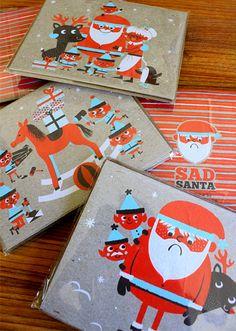 NEW Sad Santa silkscreen Holiday cards! by Tad Carpenter