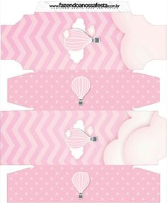 Caja rectangular. Globo aerostático rosa.