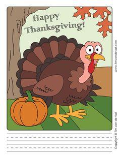Thanksgiving Turkey Writing Paper Template