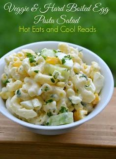 table for seven: Veggie and Hard Boiled Egg Pasta Salad- Guest Post: Hot Eats and Cool Reads