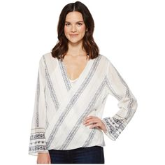 Dylan by True Grit French Market Wrap Blouse (White/Navy/Khaki)... ($92) ❤ liked on Polyvore featuring tops, blouses, bohemian blouses, white blouses, white wrap blouse, cotton pullovers and long sleeve wrap blouse