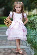 Baby Pink A-line Scoop Flower Girl Dress Taffeta and Lace Bow Tea-length