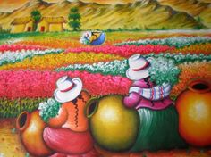 CUADROS DE LAS CHISMOSITAS - Buscar con Google Mexican Pictures, Peruvian Art, Silk Art, Painting People, Handmade Christmas Gifts, Naive Art, Mexican Folk Art, Silk Painting, Anime