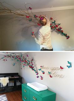 15 Ways To Make Your Walls Beautiful With Butterfly Wall Decorations 15 aesthetic decor 15 Ways to Make Your Walls Beautiful with Butterfly Decorations Butterfly Nursery, Butterfly Wall Decor, Butterfly Theme Room, Butterfly Project, Origami Butterfly, Creation Deco, Little Girl Rooms, Baby Room Ideas For Girls, Baby Girl Room Themes