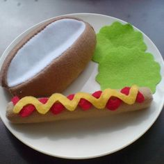 Felt food pattern - hot dog bun (pdf ebook felt patterns and instructions via email)
