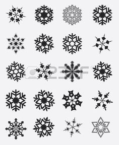4 Plantillas De Copos De Nieve Pequeño Conjunto de plantilla de copos de nieve-Plantilla de arte de Navidad