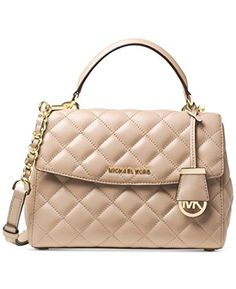 f12447ab571d Women's Shoulder Bags - Michael Kors Ava Small Top Handle Quilted Satchel  Quilted Leather BisqueGold *