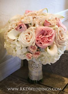 Pink Garden Rose And Hydrangea Bouquet la perla baby peachy cream rose | bride bouquets, hydrangeas and blush