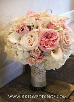 blush bridal bouquet of white hydrangea white ohara garden roses pink garden
