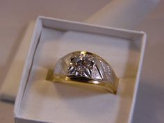 Mens 14K HGE Ring Clear CZ Stone Heavy Gold by EntirelyYours