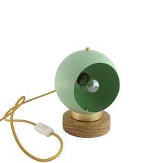Mint Green Globe Table Lamp Vintage Restored Handmade Table Lights Vintage Lighting Gold Minimal Oak Wood Lighting Edison