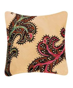 Look what I found on #zulily! Tan Paisley Rustic Damask Throw Pillow #zulilyfinds